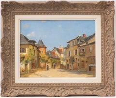 UN CARREFOUR A UZERCHE, Oil on Panel Painting by Fernand Quignon