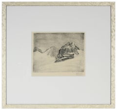 Original Vienna Secessionist Etching of Abstracted Landscape of Mountain