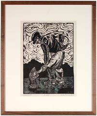 """Expressionist Linoleum Print, """"Shoveller"""""""
