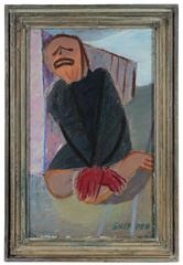 Kneeling Expressionist Figure, Oil Painting, Circa 1940