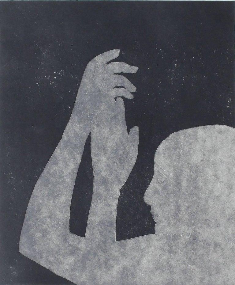 "Rob Delamater Figurative Print - ""Georgia O'Keefe in the Deep Blue II"" Monotype, 2015"