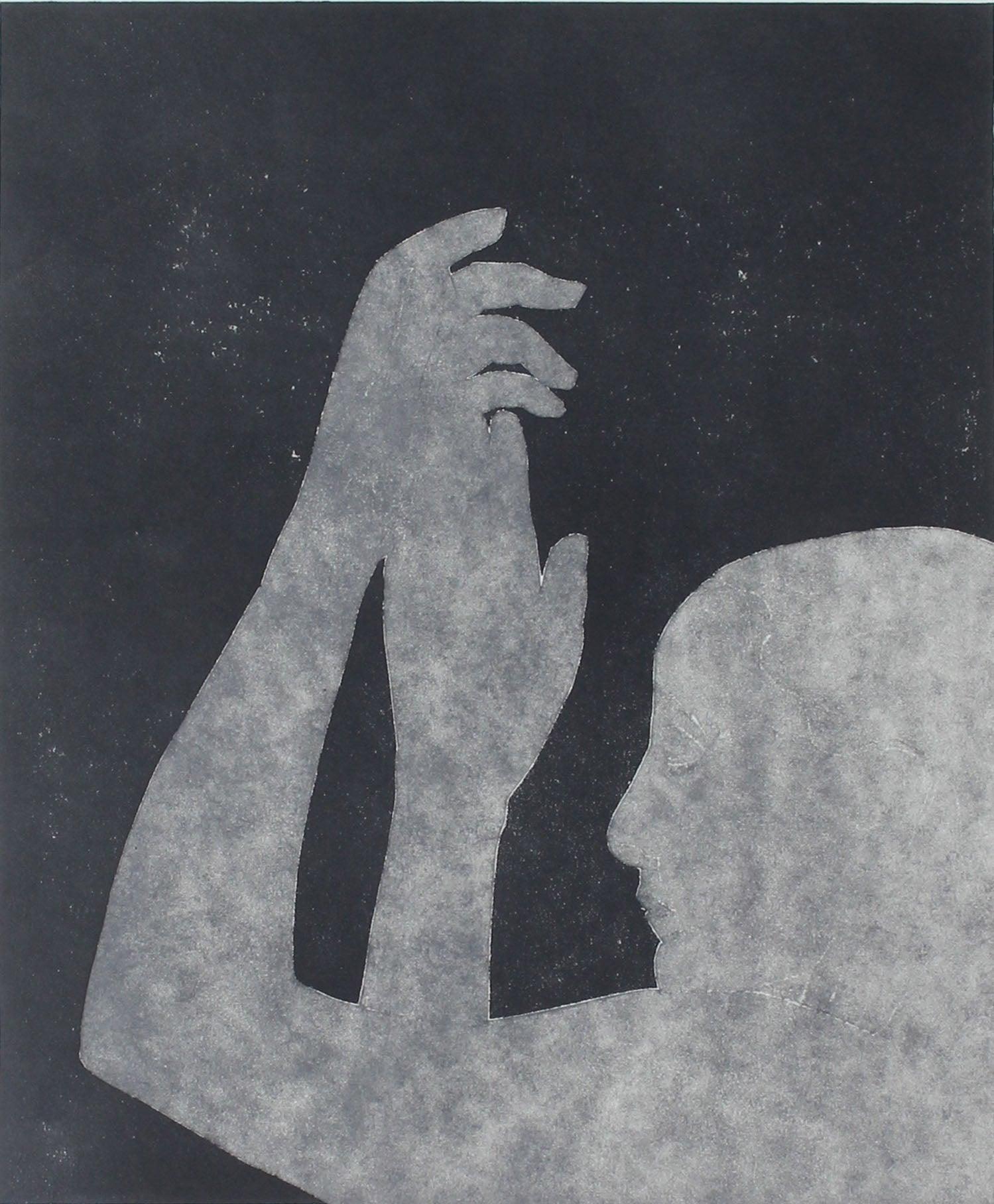 """""""Georgia O'Keefe in the Deep Blue II"""" Monotype, 2015"""