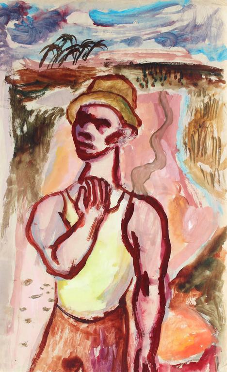 Byron Randall Figurative Painting - Expressionist Fiji Island Scene
