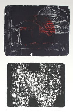 """""""Iconic Landscape IX"""" Abstract Expressionist Lithograph, 1967"""
