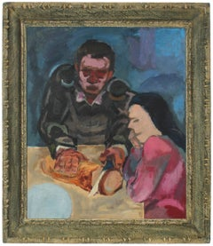 Expressionist Kitchen Table Scene in Oil, 1940s