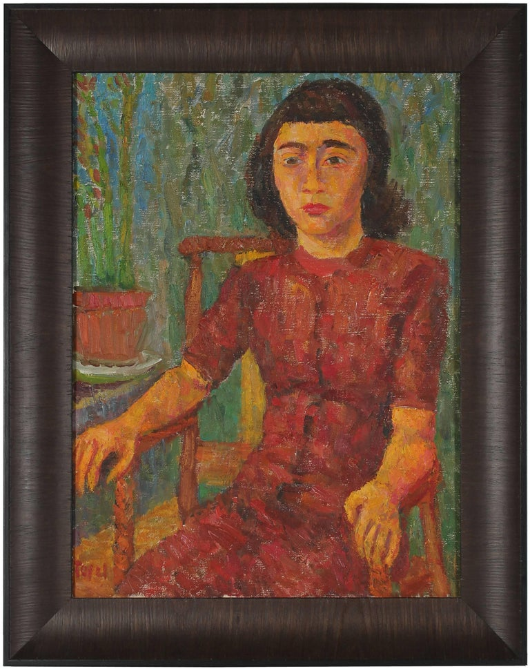 Jennings Tofel Portrait Painting - Mid Century Expressionist Seated Portrait of a Girl
