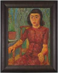 Mid Century Expressionist Seated Portrait of a Girl