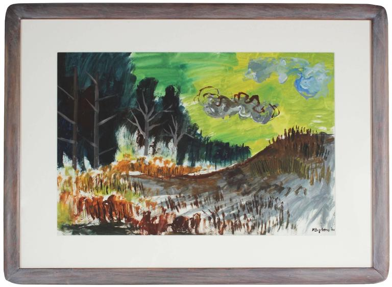 """""""Landscape with Green Sky"""" Gouache on Paper, 1944"""
