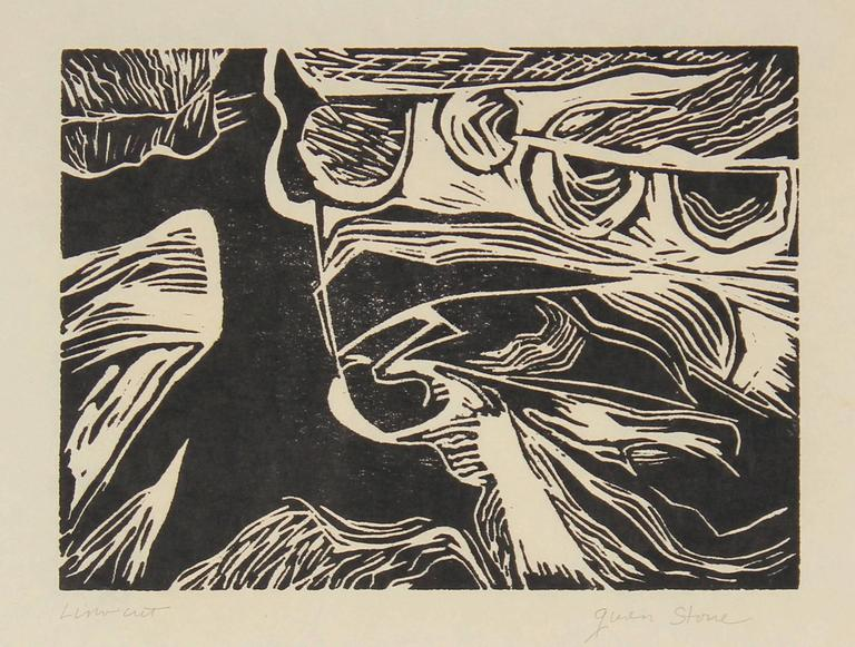 Gwen Stone Abstract Print - Monochromatic Linocut Abstract, Late 20th Century