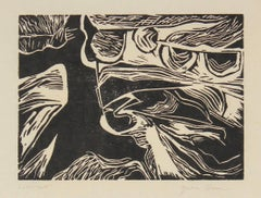 Monochromatic Linocut Abstract, Late 20th Century