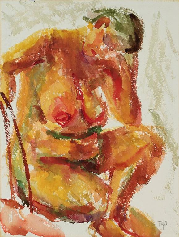 Seated Expressionist Figure in Watercolor, Circa 1950s