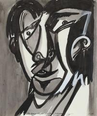 """Cubist Portrait """"The Grave Digger"""", Ink Drawing"""