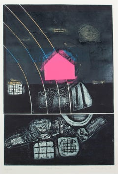"""Pink Step"" Abstract Expressionist Collograph Print, 1973"