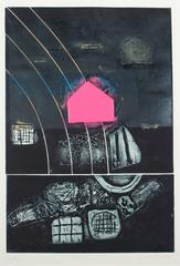 """Pink Step"" Abstract Expressionist Collograph Print"