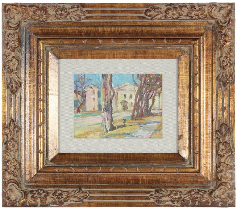 "Michael Cherni Landscape Painting - ""Yard in Odessa"" Soviet Impressionist Scene"