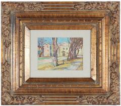 """Yard in Odessa"" Soviet Impressionist Scene"