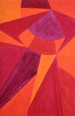 Bright Geometric Abstract, Acrylic on Paper, Circa 1966