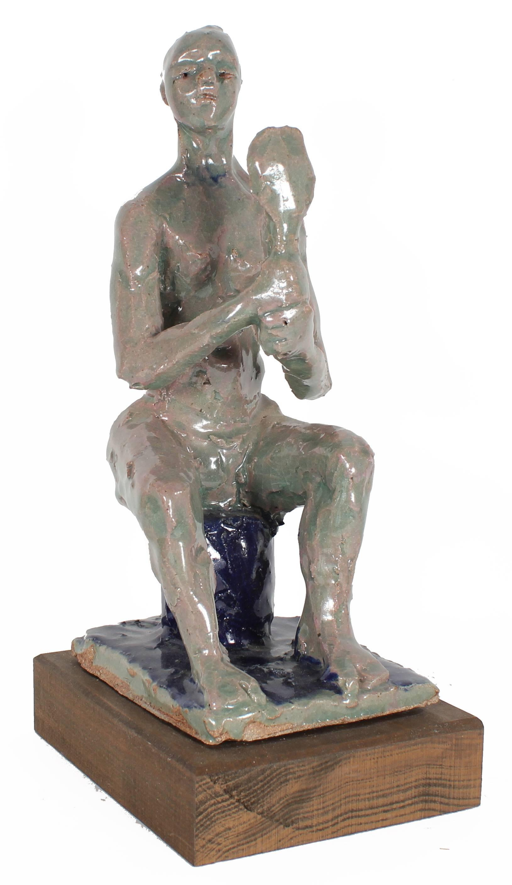 Seated Figure with Mirror, Ceramic Sculpture in Gray with Turquoise and Navy
