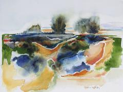 Abstracted Sonoma, CA Landscape in Watercolor, 20th Century