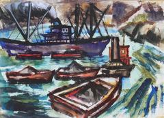 Expressionist Harbor Scene in Watercolor