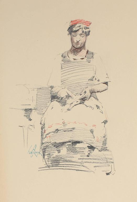 Seated Parisian Woman, Charcoal Drawing, Circa 1905