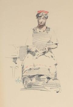 Seated Parisian Woman, Charcoal Drawing, Circa 1905