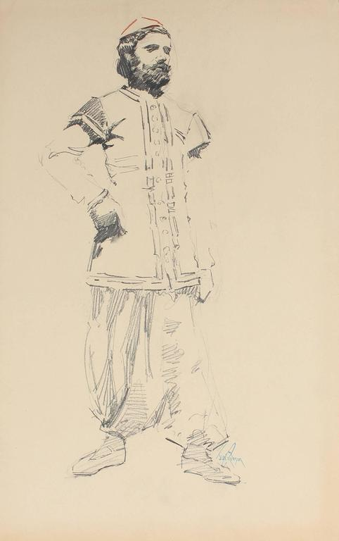 Parisian Male Figure, Charcoal Drawing, Circa 1905