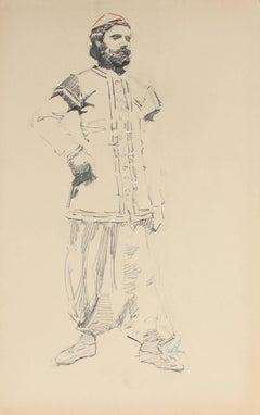Parisian Male Figure Portrait Charcoal Drawing, Circa 1905