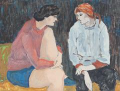 Seated Friends Talking, Modernist Oil Painting