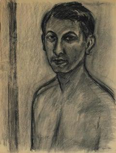 Artist Self Portrait in Charcoal, Circa 1950