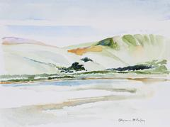 """Looking at Tomales Bay from Inverness, CA"" Bay Area Landscape Watercolor"