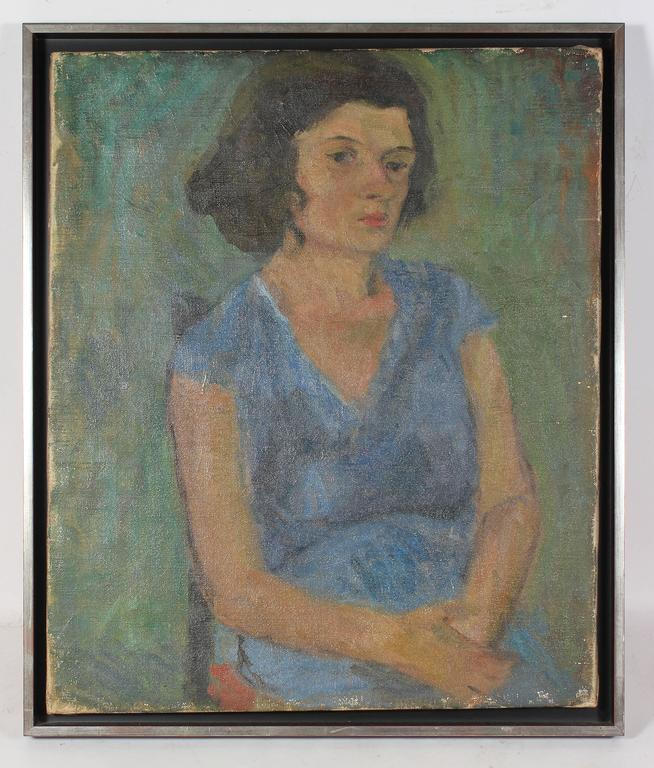 Jennings Tofel Portrait Painting - Seated Woman in Blue