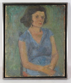 """Seated Woman in Blue"" 1940, Expressionist Oil on Canvas Portrait"