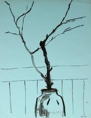Still Life with Branches, Ink on Paper Mid Century