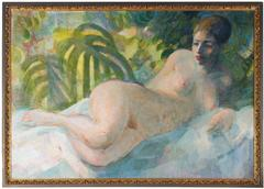 Reclining Nude with Plants