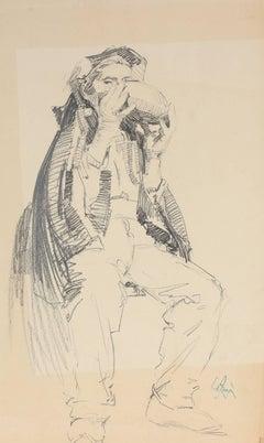 Study of a Parisian Man, Charcoal Drawing, Circa 1905