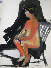 Bay Area Figurative Seated Nude in Warm Tones, Circa 1960s