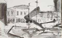 Monochromatic San Francisco Cityscape in Ink, 1976