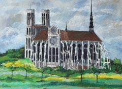 French Countryside Cathedral, Oil on Linen, 1971