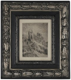 Original Vienna Secessionist Signed Etching, Abstracted Landscape, 1920s