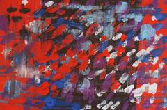 Vivid Gestural Abstract in Red