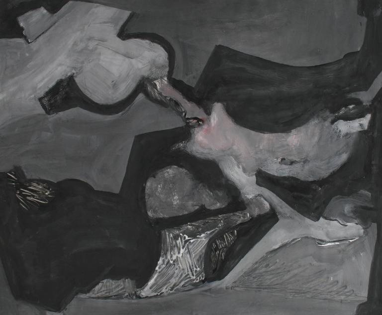 Abstracted Forms in Grayscale, Acrylic Painting, 1960s