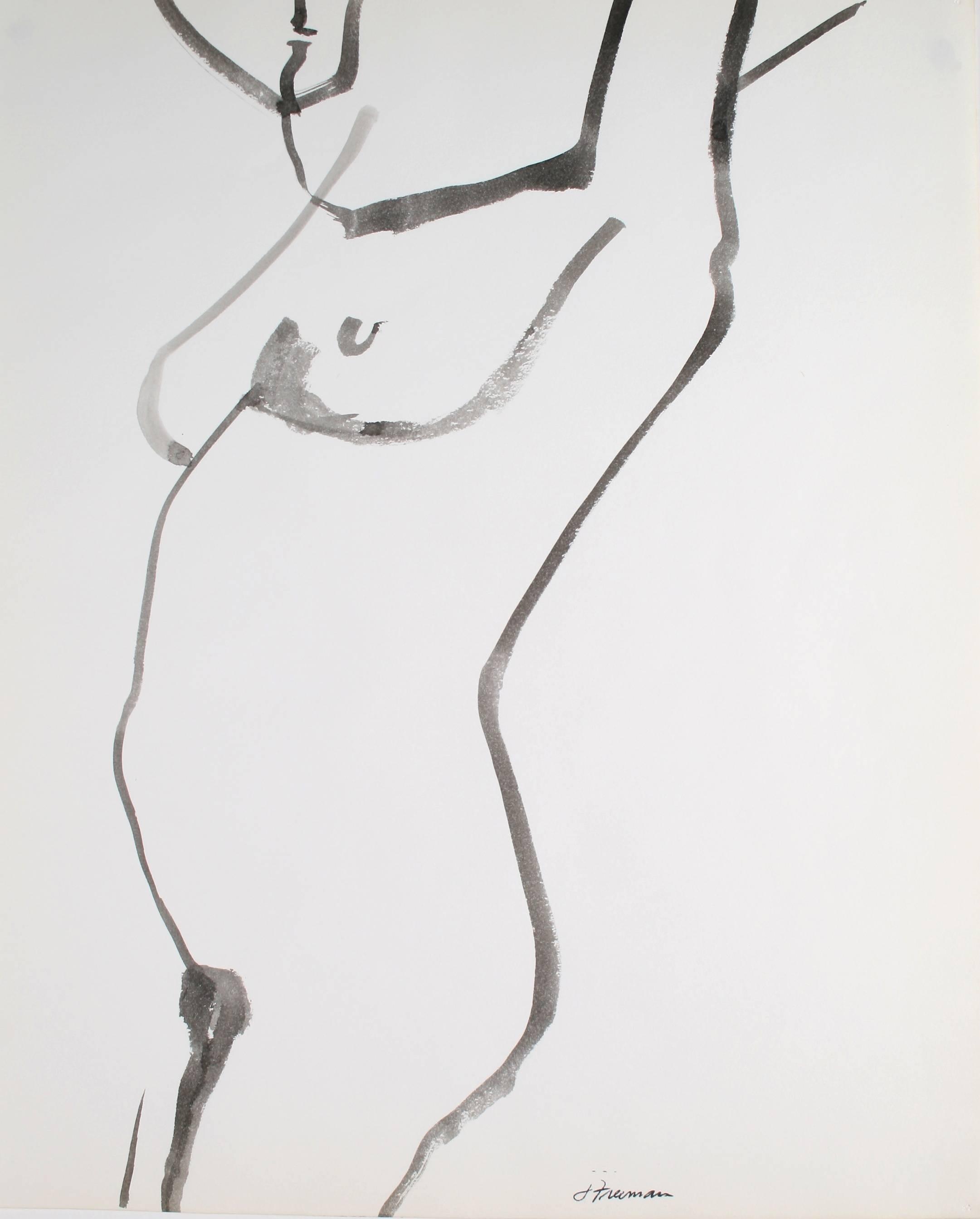 Minimalist Figure Study in Ink, 1976