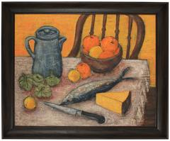 Kitchen Still Life with Fruit & Cheese