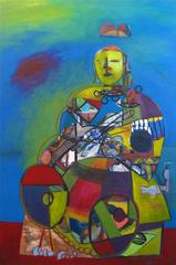 Large Cubist Portrait, Acrylic Painting, 1997