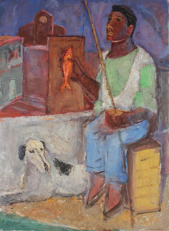 "Gerald Wasserman Portrait Painting - ""Zeno the Fisher"", Seaside Portrait in Oil Paint, Circa 1950s"