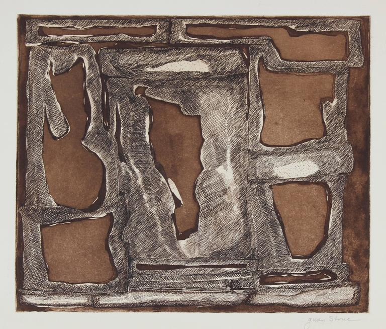 Modernist Abstract Etching in Black & Brown, 20th Century