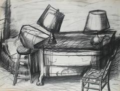 Living Room Interior, Graphite on Paper Still Life, 1960s