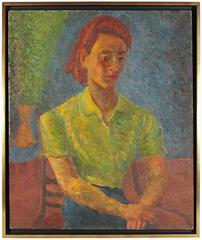 Expressionist Female Portrait in Green