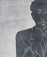 """Jean Cocteau in 1929 VI"" Monoprint Portrait in Blue, 2015"